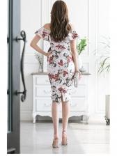 Off Shoulder Printed Short Sleeve Bodycon Dress