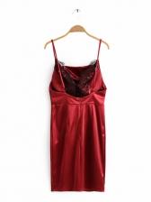 Sexy Lace Panel Satin Slip Dress