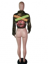 Camouflage Reflective Stripe Sequined Lips Printed Cropped Jacket