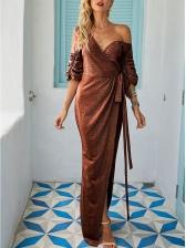 Euro Irregular Tie-Wrap Glitter Long Evening Dress