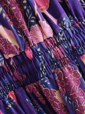 Bohemia Style V Neck Floral Long Sleeve Short Dress