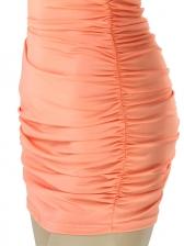 Solid V Neck Ruched Backless Halter Dress