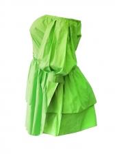 Flounce Hem Lantern Sleeve Off The Shoulder Short Dress