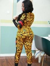 Patchwork Leopard Printed Two Piece Pants Set