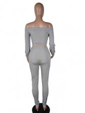 Solid Off Shoulder Front Tie Two Piece Trouser Set