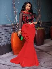 Gauze Patchwork Ruffled Detail Long Sleeve Evening Dresses