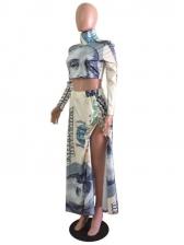 Figure Printed Split Crop Top And Skirt Set