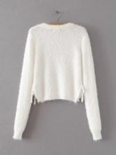 Minimalist Round Collar All Black Knit Sweater