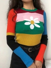 Multicolored Wide Stripes Stitching Fitted Knit Sweater