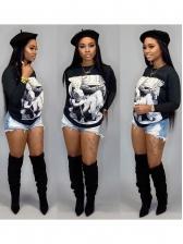 Figure Printed Long Sleeve T shirts women