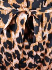 Turndown Collar Leopard Print Maxi Dress