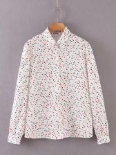Multicolored Tiny Hearts Casual Long Sleeve Shirts