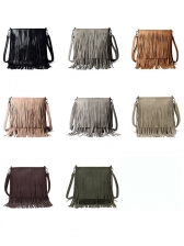 Easy Matching Solid Tassel Shoulder Strap Bag