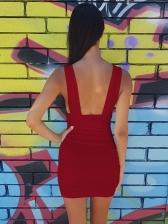 Deep V Neck Sleeveless Mini Dress For Women