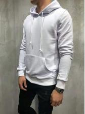 Solid Leisure Men Long Sleeve Pullover Hoodie