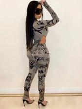 Mock Neck Letter Printing Gray 2 Piece Pants Set