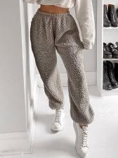 Pure Color Elastic Waist Gary Pants For Women