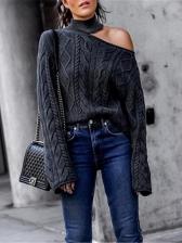Cold Shoulder Solid Color Knitted Turtleneck Sweater