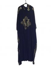 Rhinestone Decor Bat Sleeve Loose Muslim Dresses