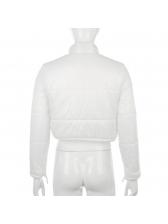 Stand Collar Solid Zipper Up Short Down Coat