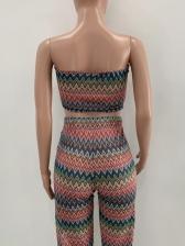 Strapless Geometric Print Two Piece Trouser Sets