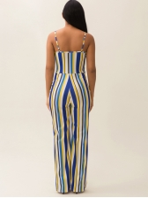 Hollow Out Striped Sleeveless Wide Leg Jumpsuit
