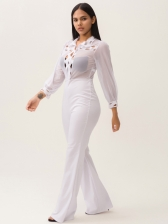 Turndown Neck Hollow Out White Wide Leg Jumpsuit