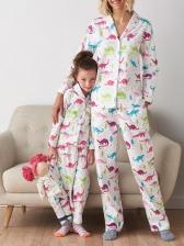 Dinosaur Print Turndown Neck 2 Piece Pajamas Family Sets