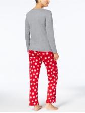 Stitching Color Snow Printing Family Christmas Pajama Sets