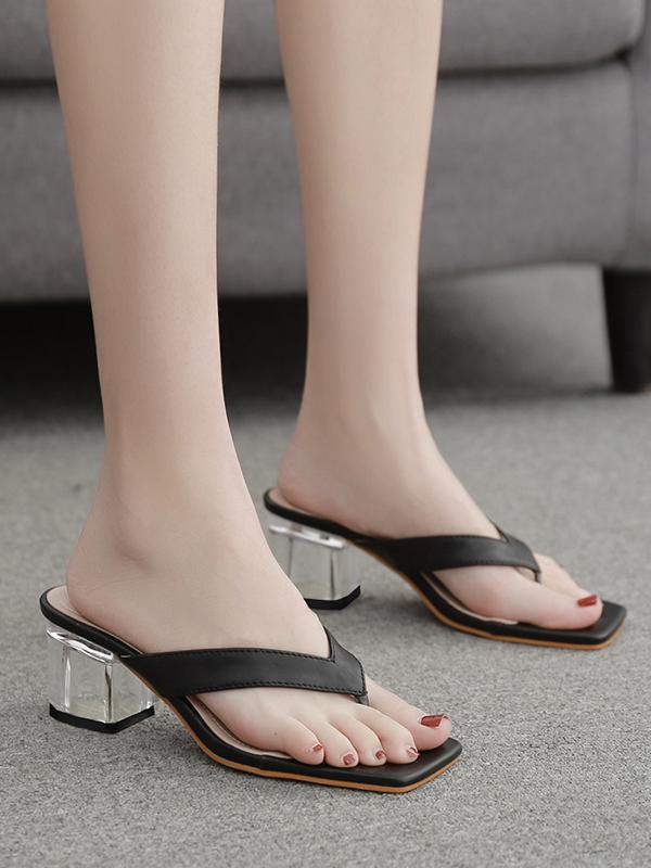 Square Toe Chunky Perspex Heel Flip Flops