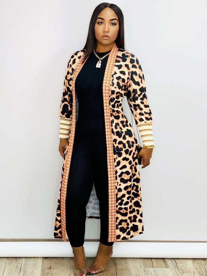 Trendy Leopard Print Ankle Length Women Long Coat