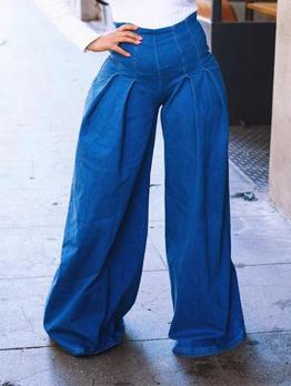 High Waist Wide Leg Denim Pants For Women