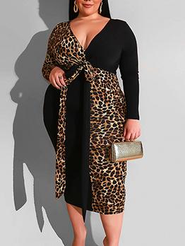 Leopard Patchwork Plus Size Dresses For Women
