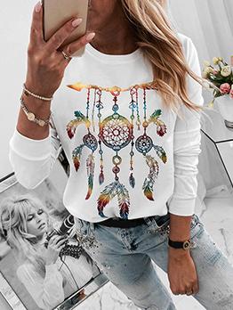 Dreamcatcher Print Crew Neck T Shirts For Women
