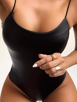 Spaghetti Strap Pu Black Bodysuit
