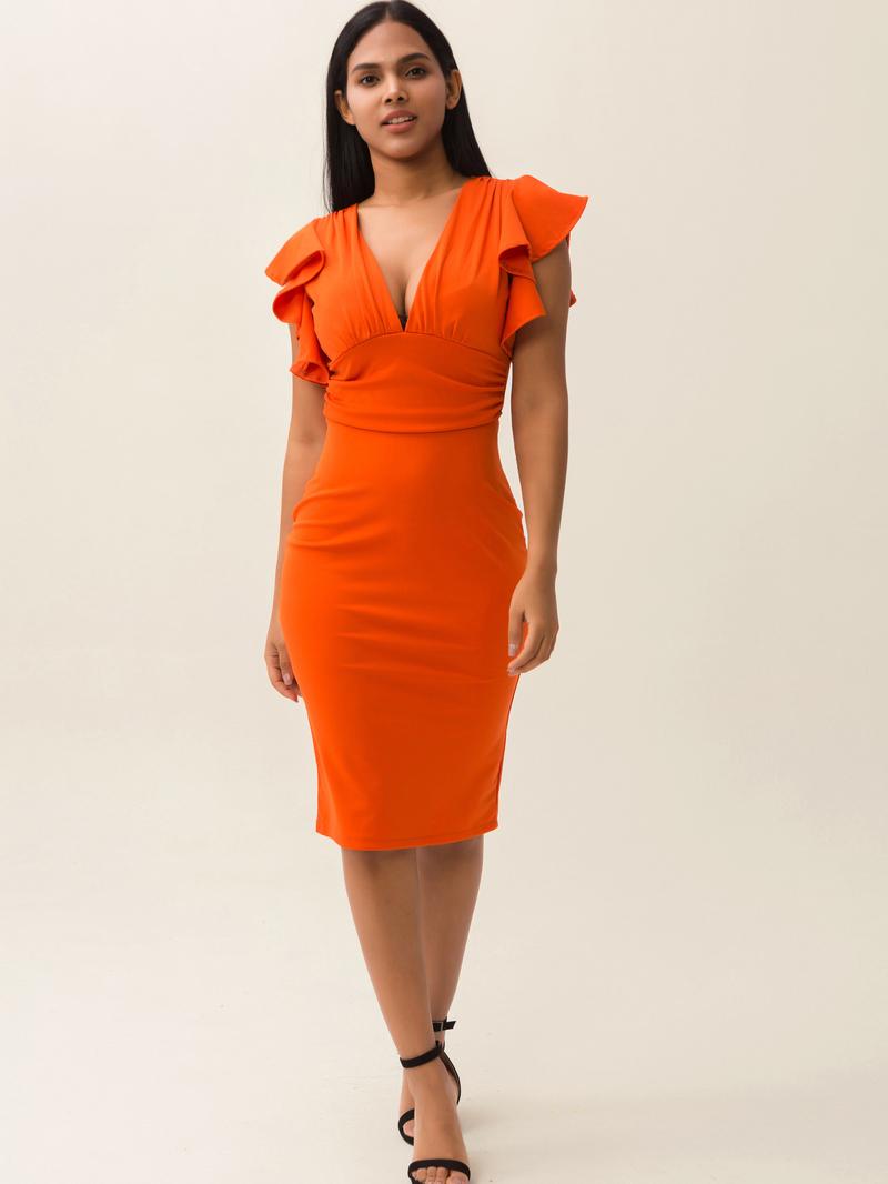 Ruffle Detail Deep V Neck Bodycon Dress For Women