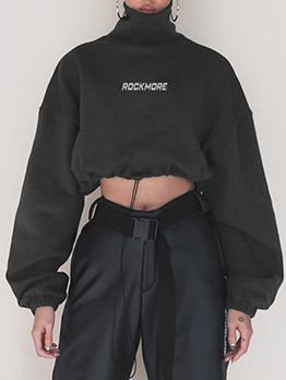 High Neck Loose Letter Drawstring Cropped Sweatshirt