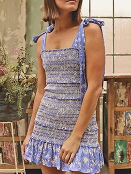 Vintage Ruffled Trim Slip Sleeveless Dress