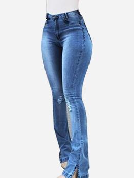 Skinny Bottom Split Ripped Jeans