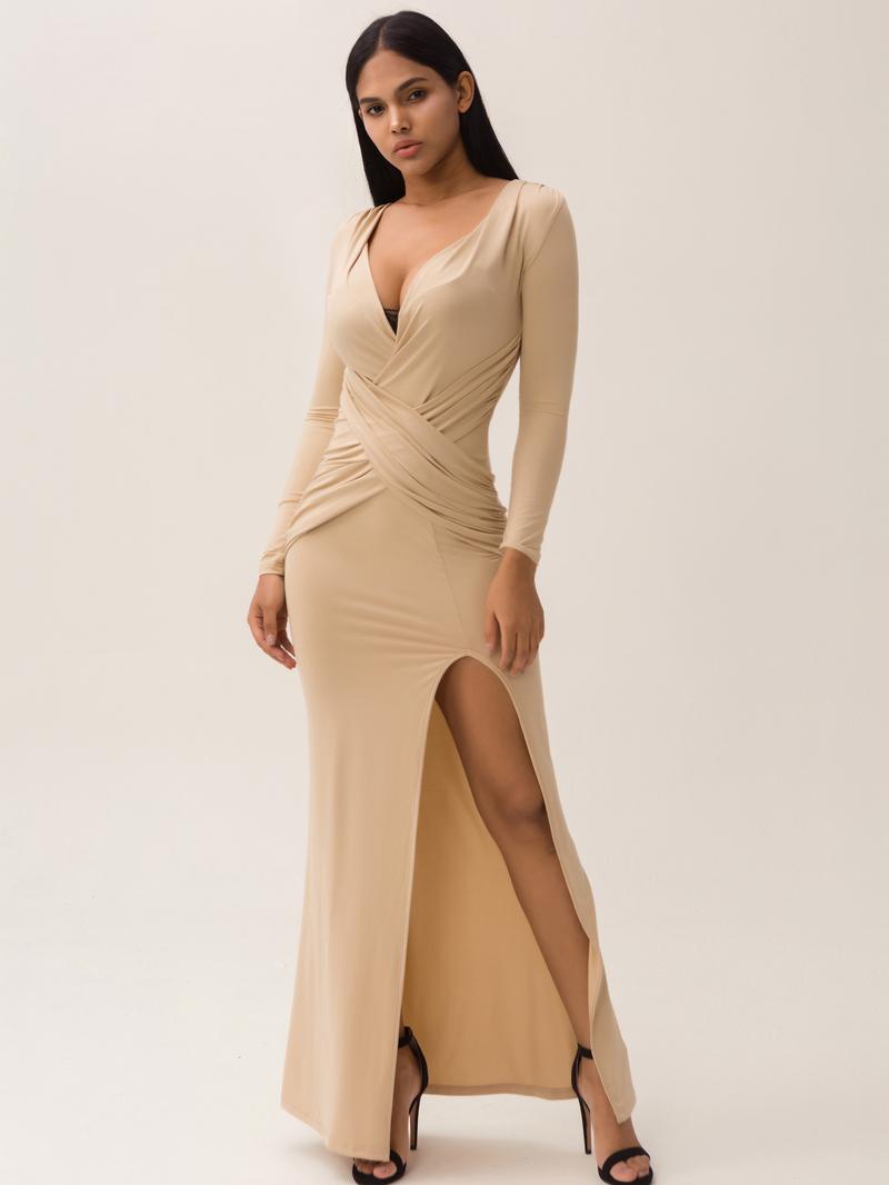 Low-Cut Split Hem Apricot Long Sleeve Maxi Dress