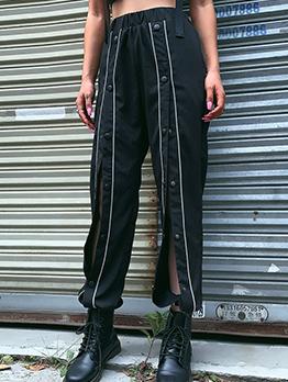 Elastic Waist Double Breasted Black Jogger Pants