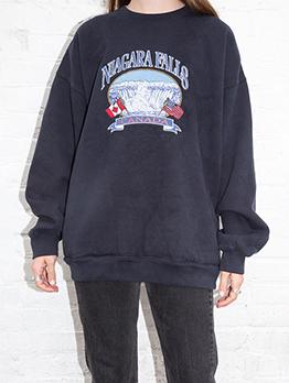 Autumn Letter Printing Loose Crewneck Sweatshirt