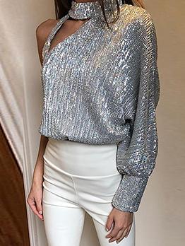 One Shoulder High Neck Sequin Tops For Women