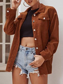 Street Corduroy Solid Ladies Coats