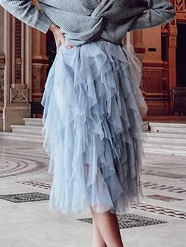 Wedding Mesh Midi Ruffle Skirt