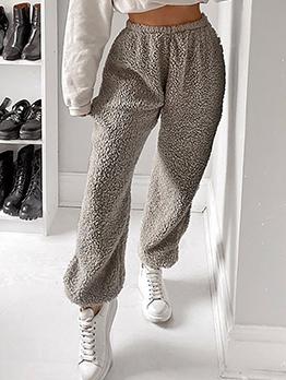Solid Elastic Waist Fleece Track Pants