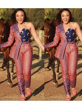 Asymmetrical Single Sleeve Stripes 2 Piece Pants Set
