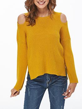 Minimalist Cold Shoulder Solid Color Knit Sweater