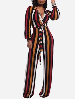 Tie-Wrap Long Sleeve Wide Leg Striped Jumpsuit