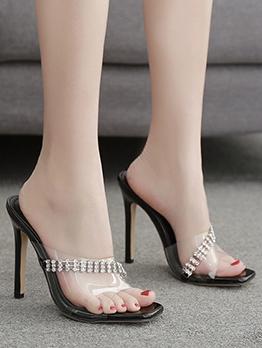 PVC Rhinestone Peep Toe Ladies Slippers